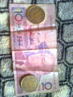 نقود مغربية قديمة 10دراهم ورقة قطعتين من 50 فرنك قديمة