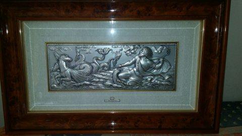 لوحة فنية ايطالية قديمة منقوشة من الفضة