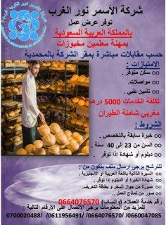 شركة متخصصة بالأغذية الصحية (مولات) بالمملكة العربية السعودية تبحث عن خبازين