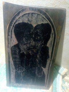 لوحة خشبية منحوتة عتيقة