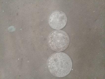 قطع نقدية مغربية قديمة من فئة 1 2 5 فرانك 1370