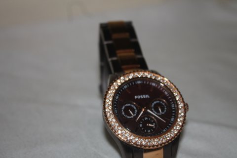Fossil Watch ES2955, Brown & Rose Gold Tone, Stainless Steel, Day Date, 5 ATM