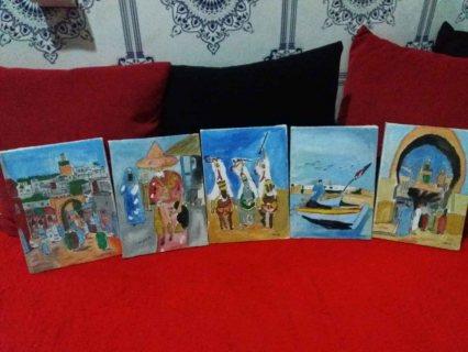 خمس لوحات تشكيلية